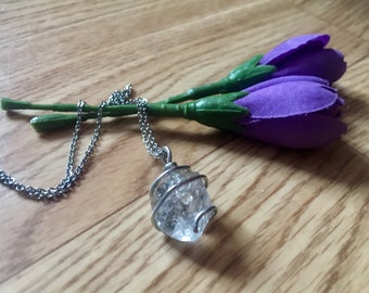 Herkimer Diamond necklace, herkimer diamond pendant, gift for her, wire wrapped crystal, crystal pendant, wire wrapped herkimer