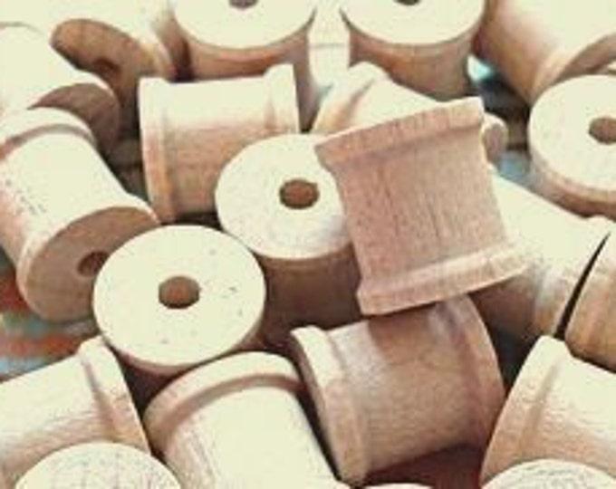 Miniature Wooden Spools  - Set of 15