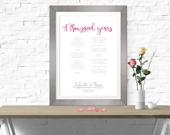 Thousand years sign etsy a thousand years song lyrics wedding song first dance lyrics print christina perri keepsake personalized anniversary gift twilight stopboris Gallery