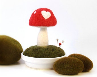 Sweetheart Mushroom Valentine's Day Decor Sculpture Love Heart Pincushion Scene Made To Order