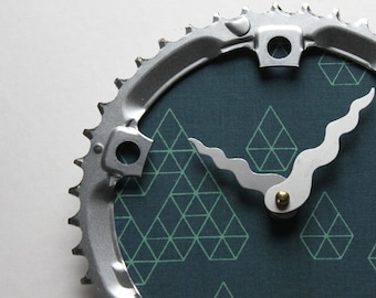 Bicycle Gear Clock - Geometric Diamond  |  Bike Clock  | Wall Clock | Recycled Bike Parts Clock