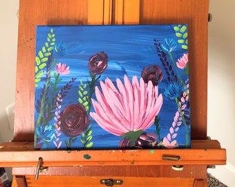 March Florals No. 3: Original 8x11in acrylic fine art painting. Fine art floral painting. One of set of three.