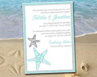 "Beach Wedding Reception Invitation Template ""Blissful Starfish"" Post Destination Wedding Invitation - Light Turquoise Silver DIY Wedding"