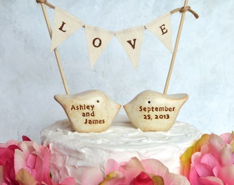 Personalized wedding cake topper and LOVE banner...Your names and wedding date, package deal .. Farm backyard garden informal casual party