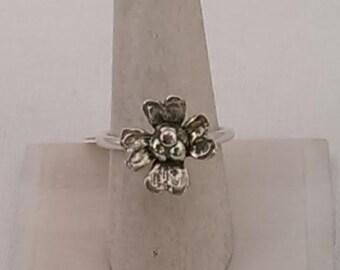 Sterling Silver Dogwood Flower Ring - Handmade Dogwood Flower Ring - Size 8