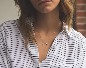 Moon Necklace • Upside Down Moon Necklace • Dainty Gold Double Horn Necklace in 14k Gold Fill, Sterling or Rose Gold Fill, LN131