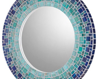 Coastal Mirror | Beach House Mirror | Mosaic Mirror | Custom Mirror | Round Mirror | Deep Blue, Sea Green, Light Teal Glass Mosaic