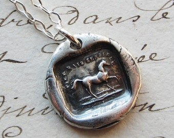 Wax Seal Horse Necklace - High Spirited but Sensitive - Horse Jewelry - Equestrian Necklace - FS645