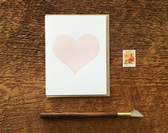 Simple Heart, Letterpress Note Card, Blank Inside