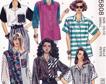 McCall's 5808 Misses' Shirt Pattern, UNCUT, Size Small 10-12