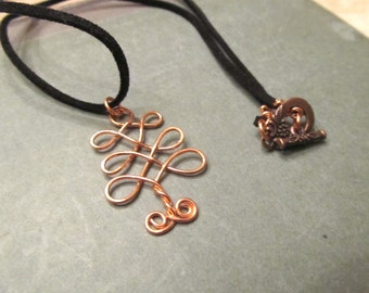 Celtic Tree Wire Wrapped Pendant Copper Jewelry Wire Wrapping One of a Kind Womens Copper Necklace