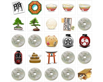 INSTANT DOWNLOAD Japanese style Icons | East style Icons | Antique | Ancient | Iphone Android