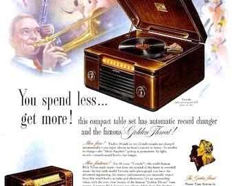 1947 RCA Victor Radio Phonograph & Kinsey Liquor Advertisements Ads Ad Print Poster Sign Bartender Bar Pub Tavern Wall Art Home Decor