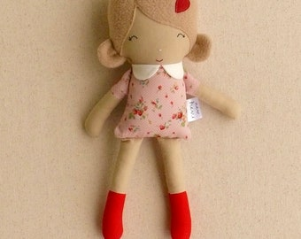 Fabric Doll Rag Doll Small Mini Doll 12 inch Doll with Light Brown Hair and Pink and Red Calico Dress