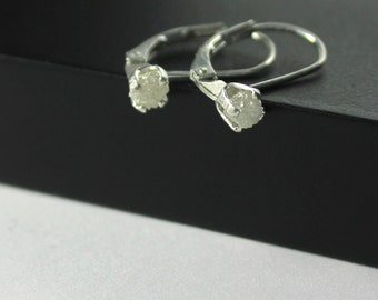 White Rough Diamond Leverback Earrings - Sterling Silver Raw Diamonds - Lever Back Earrings - Natural White Diamonds - April Birthstone