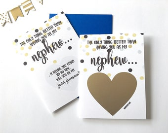 Junior Groomsman Proposal for Nephew Scratch Off Card- The only thing better than having you - Will You be my Jr Groomsman - GOLD DOT