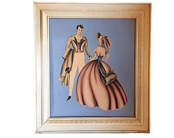 Vintage Turner, Turner Painting, Turner Couple Art, Mid Century Décor, Retro Turner Décor, Turner Wall Art, Victorian Couple Art, Colonial