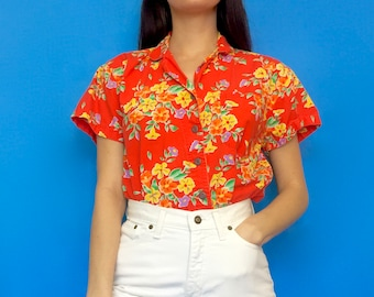 Vintage 90s 80s Orange and Yellow Short Sleeve Button Down Collared Blouse