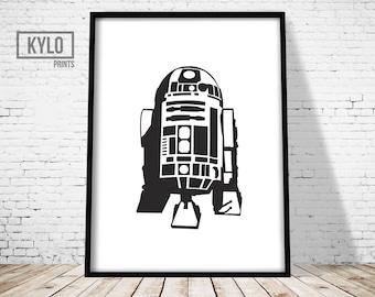 R2D2 Print, Star Wars Print, Star Wars Poster, R2D2 Poster, Instant Download, Star Wars Wall Art, Star Wars Fan, Star Wars Gift, Minimalist