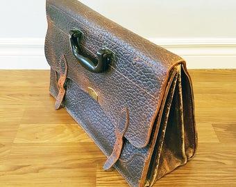 Cartable en cuir vintage des années 1930 avec poignée en bakélite, grand Ouest sellerie Company