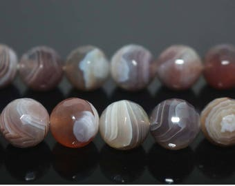 "Natural 128Faceted Botswana Agate Round Beads,Botswana Agate Beads,6mm 8mm 10mm 12mm Natural beads,one strand 15"",Faceted Agate Beads"
