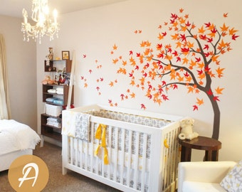 Large tree wall sticker White tree wall decal Large tree decal Maple tree wall decal Nursery wall art Wall mural sticker -AM023  sc 1 st  Etsy & Large Tree Wall Decals Trees Decal Nursery Tree Wall Decals