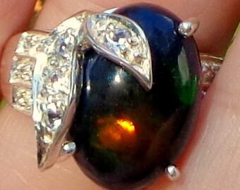 SALE,HUGE Black Ethiopian Welo Opal Ring, Yellow,Green,Orange,Blue,Red Fire,Natural Gemstone Ring, Fine Jewelry, Genuine Black Opal, OOAK