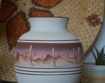 Southwestern Navajo Ceramic Vase • Carved/Painted