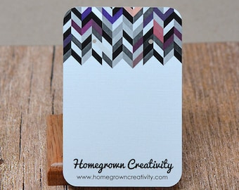 Custom Earring Cards - Modern Chevron Pattern - Personalized Product Display Cards DS008