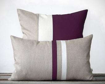 Plum Pillow Set - (12x20) Stripe and (20x20) Color Block  by JillianReneDecor - Modern Home Decor - Purple - Aubergine - Eggplant