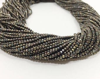 Black Spinel With Mystic Brown Coated Faceted Rondelles 2mm 13 inch strand