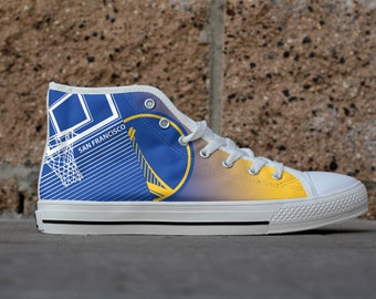 Golden State Basketball Custom Fan Made High Top Canvas Shoes