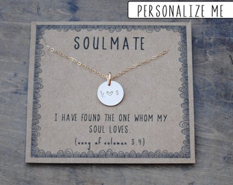 READY TO SHIP . Soulmate initial necklace  .  Couples Initial Necklace gift for girlfriend or wife  .  Personalized Birthday Day gift