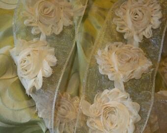 Shabby Chic Cotton Flower Garland 2 yard cut