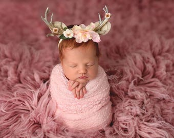 fawn song newborn fawn deer woodland antler crown halo floral headband prop in blush ivory