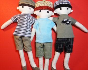 Cloth doll rag doll boy pdf pattern with detailed instructions - Zak