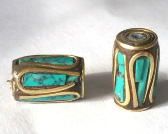 2 pieces 13x8mm Tibetan Brass Bead with Turquoise and Coral Inlay - OFF69