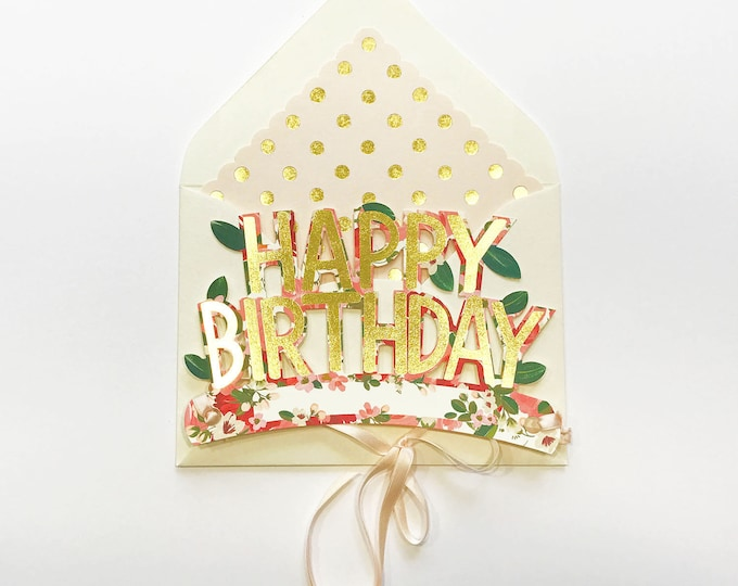 Wearable Happy Birthday Crown in Floral