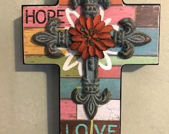 Faith Hope Love wood Wall Cross Decor, Blue cast iron Fleur De Lis cross with Orange flower, Christian Decor, Gifts for Her, Gifts for Him