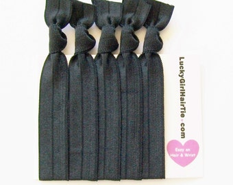 Hair Ties, Basic Black Value Pack, Lucky Girl Hair Ties, ponytail holder, elastic hair band, black hair ties
