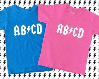 ABCD T-shirt, ACDC, Alphabet Shirt, Twins, Twins Gift, Rock 'n' Roll Kids, Heavy Metal Kids, ABCD Kids, Rocker Kids, Punk Kids, Cool Twins