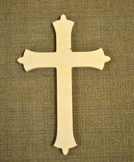 Wooden Cross Cutout Unpainted - Wood Cross Wall Decor - Unfinished ...