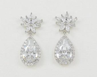 Bridal Earrings, Wedding Jewelry, Teardrop Zirconia Earrings, Joyce - Ships in 1-3 Business Days