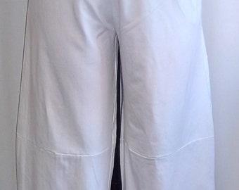 Coco and Juan, Plus Size Pants, Lagenlook Pants, White, Traveler Knit, Plus Size Wide Leg Pant, Women's Pants,  Size 1 fits  1X,2X