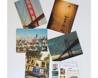 Postcard Set #2 - 5 Iconic San Francisco Images, Distressed Photo Transfers onto Wood