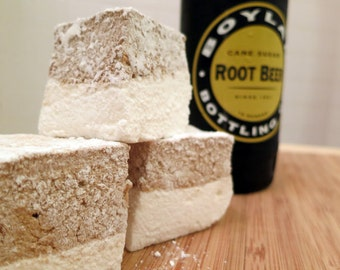Root Beer Float Marshmallows  - 1 dozen Gourmet homemade marshmallows