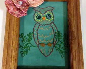 Owl embroidery framed  5 x 7