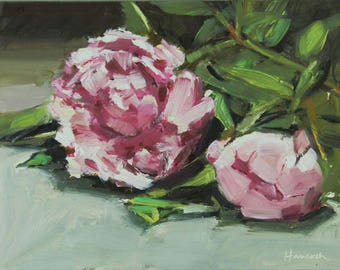 Two Peonies - One Open