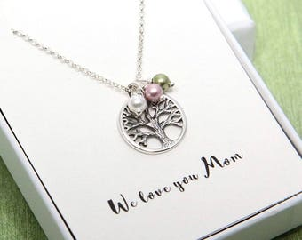 Mother Gift, Mother Necklace, Personalized Necklace, Gift for Mother, Family Tree Necklace, Tree of Life Necklace, To Mom From Daughter Gift