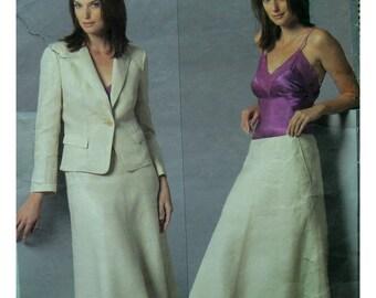 Donna Karan Semi-Fitted Jacket Pattern, A-line Skirt, Contour Waist, Notched Collar, DKNY Vogue American Design No.2895 UNCUT Size 14 16 18